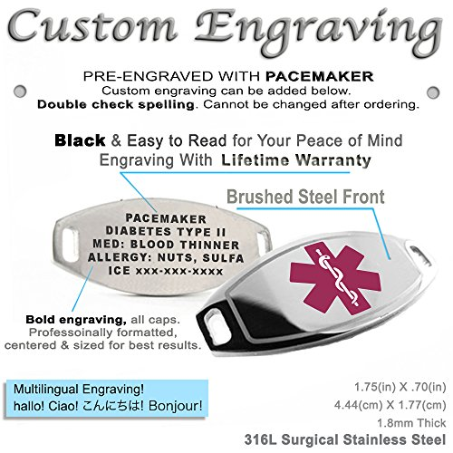 Blue Pre-Engraved /& Customized Dementia Medical Bracelet Wallet Card Incld My Identity Doctor