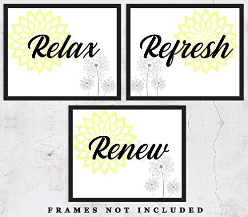 Relax Refresh Renew Typography Wall Art Prints: Unique Bathroom Decor - Set of Three (8x10) Unframed Pictures - Great Gift Idea