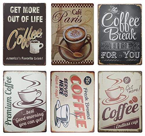 Coffee Time Vintage Tin Painted Bar,home Decorated Iron Wall Decorations Metal Signs 6pcs 30cm*20cm (7.87*11.81inch)