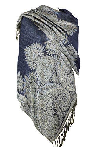 Achillea Luxurious Big Paisley Jacquard Layered Woven Pashmina Shawl Wrap Scarf Stole (Navy)