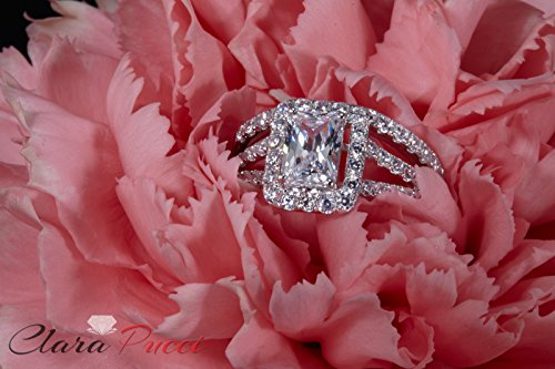 1.8 Ct Emerald Cut Pave Halo Engagement Promise Wedding Bridal Anniversary Ring Band Set 14K White Gold, Clara Pucci