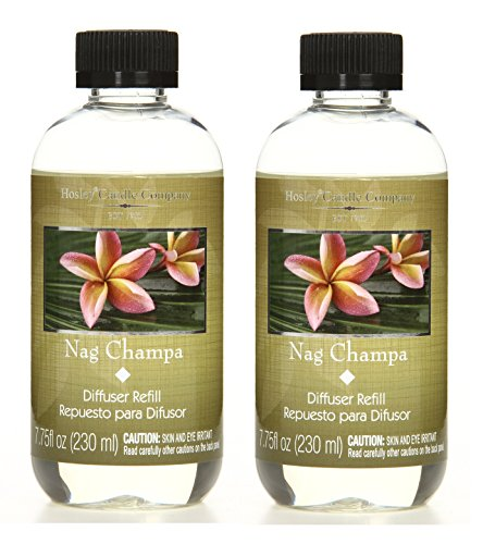 Hosley Aromatherapy Set of 2 Premium Grade Nag Champa Scented Reed Diffuser Refill Oil, 230 ml (7.75 fl oz) Made in USA. BULK BUY. Ideal GIFT for weddings, spa, Reiki, Meditation settings