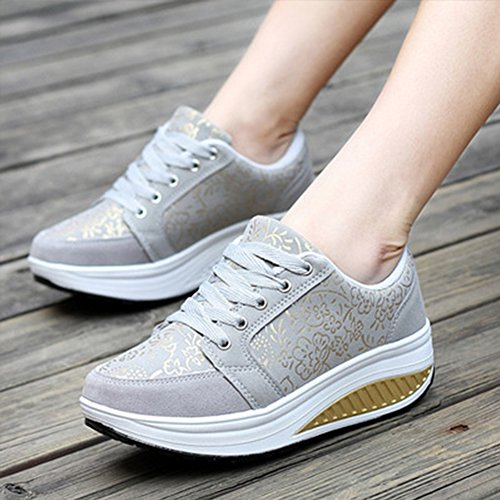 Women Platform Walking Shoes Sneaker Running Shoes Grey 6hBAN