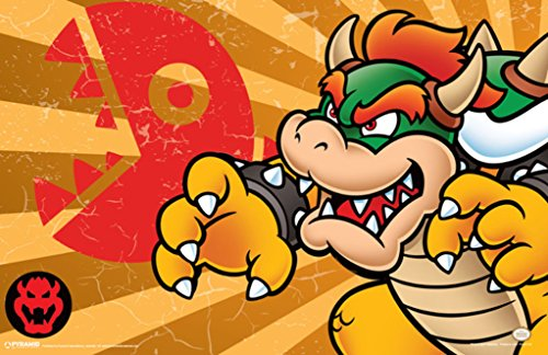 Pyramid America Super Mario Bowser Stripes Video Game Gaming Poster 36x24 inch