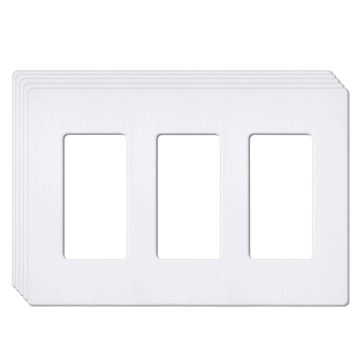 [5 Pack] BESTTEN 3-Gang Screwless Wall Plate, USWP6 Snow White Series, Slightly Larger Size Outlet Cover for Light Switch, Dimmer, USB, GFCI, Decor Receptacle, Residential and Commercial, UL Listed by BESTTEN