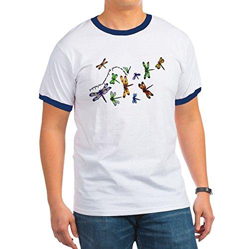 (Royal Lion Ringer T-Shirt Dragonflies Glide on Gossamer Wings - Navy/White, Small)