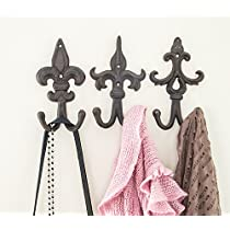 SET OF 3 - Cast Iron Fleur De Lis Double Wall Hooks / Hangers - Decorative Wall Mounted Coat Hook - Rustic Cast Iron - With Screws And Anchors by Comfify CA-1504-30-BR