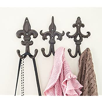 Amazon.com: SET OF 3 - Cast Iron Fleur De Lis Double Wall Hooks ...