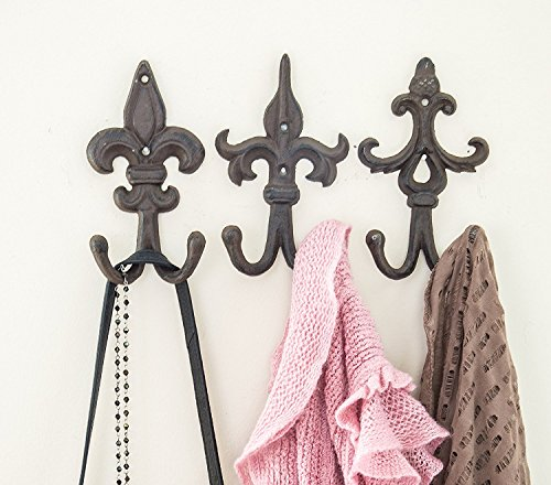 Comfify SET OF 3 - Cast Iron Fleur De Lis Double Wall Hooks/Hangers - Decorative Wall Mounted Coat Hook - Rustic Cast Iron - With Screws And Anchors by CA-1504-30-BR