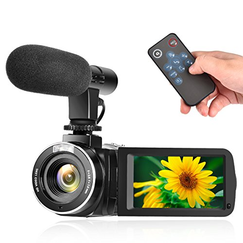 Camcorder Digital Video Camera Full HD 1080P 30FPS Vlogging Camera With External Microphone and Remote Control