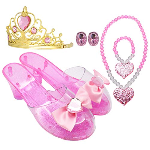 Princess Accessory Dress Up Set,Shoes Necklace Earrings and Tiara Set,Fashion Beauty Set for Girls (Pink)