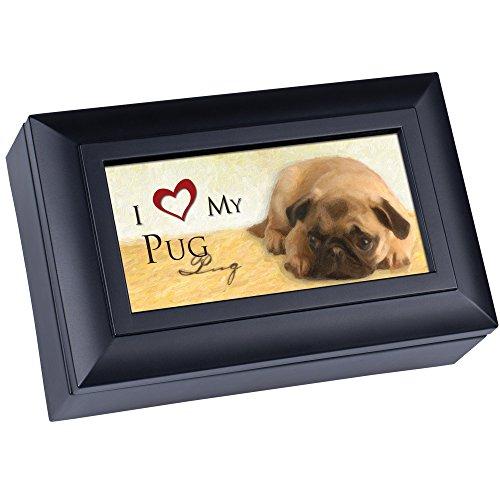 - Cottage Garden Love My Pug Matte Black Jewelry Music Box Plays Wonderful World
