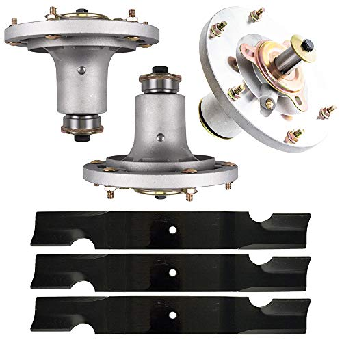 8TEN Deck Spindle Air Notched Blade Kit Set Combo 52'' for Grasshopper 9852 Mower Replaces 623763 320239