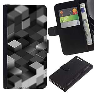 NEECELL GIFT forCITY // Billetera de cuero Caso Cubierta de protección Carcasa / Leather Wallet Case for Apple Iphone 6 PLUS 5.5 // Bloques grises