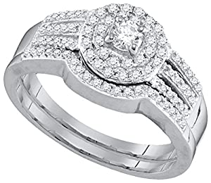 10kt White Gold Womens Round Diamond Strand Halo Bridal Wedding Engagement Ring Band Set 1/2 Cttw