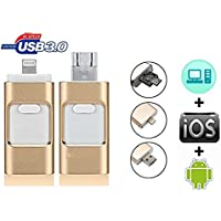 Flash Drive USB3.0 iPhone OTG - USB, Micr USB, Lighting Connector(3 in 1) for iPhone iPad IOS Andriod PC(32GB) (Gold)