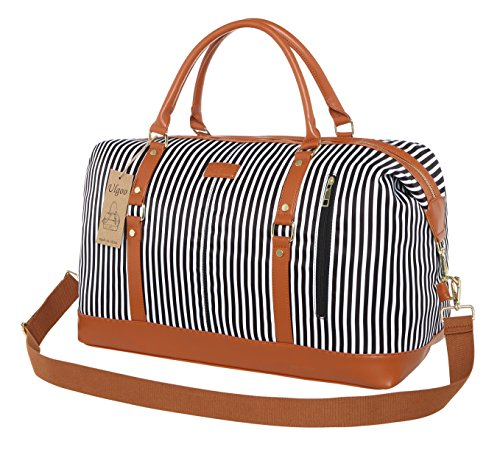 Ulgoo Weekend Duffel Bag Waterproof Nylon Overnight Travel Bag (Black Stripe Large)