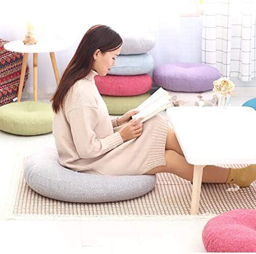 Seat cushion Coussin De Plancher De Couleur Solide,Rond Lin Lavable Coussin De Si/ège /épaissi pour Coussin Ext/érieur De Chaise De Salon De Bureau De Yoga-Beige 40x40cm 16x16inch