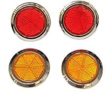 "4-Pack of 2"" inches Large Round Plastic Peel and Stick Adhesive Safety Reflective Reflectors (2pcs Red / 2pcs Orange) for Car Boat Bike Street Sign Mailbox Children Scooter Stroller Wagon Golf Cart"