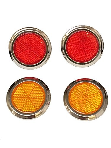 "4-Pack of 2"" inches Large Round Peel and Stick Adhesive Safety Reflectors (2pcs Red / 2pcs Orange) for Car Boat Bike Street Sign Mailbox Children Scooter Stroller Wagon Golf Cart Plastic Raincoats"