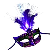 Sixcup Women Girl Venetian LED Light Fiber Mask Half Masquerade Fancy Dress Party Princess Feather Masks Shiny Halloween Costume Party Mask (Purple, Free Size)