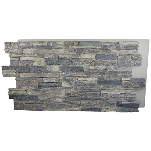 Natural Stone Panel (Superior Building Supplies Cliff Grey 24 in. x 48 in. x 1-1/4 in. Faux Grand Heritage Stack Stone Panel)