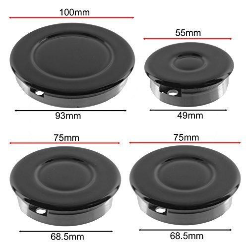 BEKO Oven Cooker Gas Hob Burner /& Flame Cap Crown Black Small Medium Large