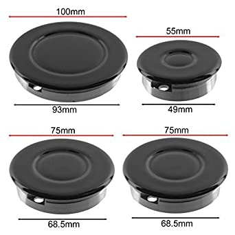 Small, 2 Medium, Large SPARES2GO Gas Burner Crown and Flame Cap Kit for Cannon Hob Oven Cookers Non Universal