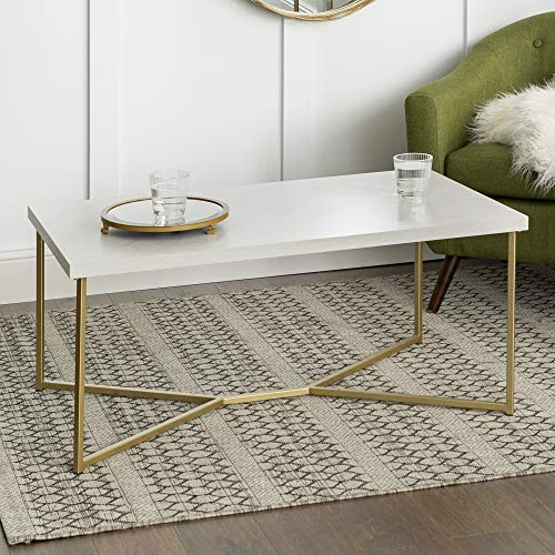 WE Furniture AZF42LUXWMG Coffee Table, Faux White Marble/Gold