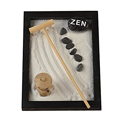 Mini Meditation Zen Garden - Figures&Natural River Rocks Rake Buddha with Base, 6 Rocks, Zen, Bag of Sand, Rake and Bridge Statue - Desktop Gift Office Decor Relaxing Desk Accessories(Black): Toys & Games