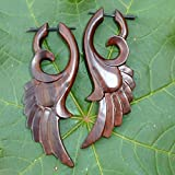 UMBRELLALABORATORY Tribal Organics Earrings Wooden Tropical Feathered Bird Style Fake Gauges W 13