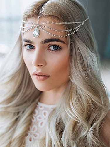 A&C Handmade Rhinestones Bridal Wedding Headband and Headpiece Jewelry for Women, Fashion Hot Sale Flower Hairband Hair Chain for Girls. (Silver)