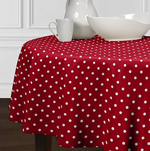 Red and White Polka Dot Tablecloth for a Round Table