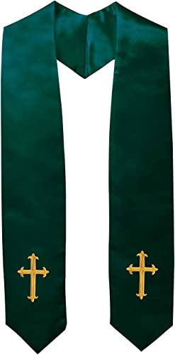 IvyRobes Adults Traditional Clergy Choir Stole with Embroidery Cross 60 Unisex Church Priest Costume 5 Colors