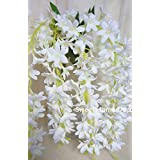 Sweet Home 22 Hanging Wisteria Silk Artificial Flower Bush (5 Stems) for Wedding/home/party Decorations (White)