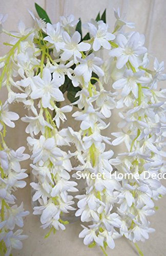 Sweet Home 22'' Hanging Wisteria Silk Artificial Flower Bush (5 Stems) for Wedding/home/party Decorations (White) (White Small Flowers Silk)