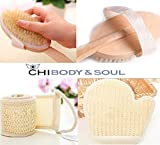 Asian Bath Spa Shower Wet/Dry Brushes, Exfoliating Sisal(Bactericidal) and Loofah(Loufah) Sponges and Skin Scrubbers. In a Custom Birch Wood Case