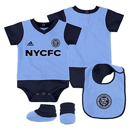 Outerstuff MLS Nycfc Boys Creeper, Bib & Booty Set, Bahia Blue, 12 Months
