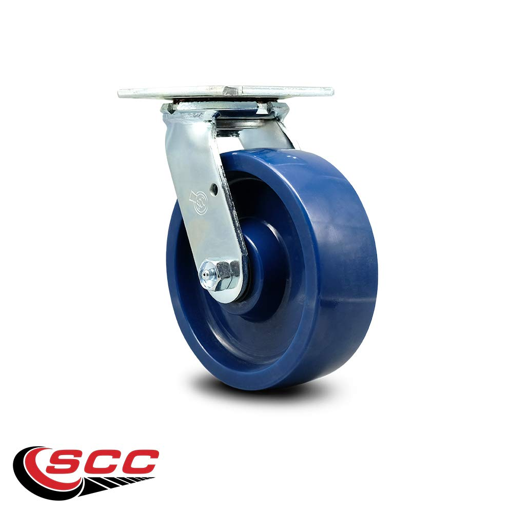 Swivel Casters Red on Silver Set of 4 Non Marking 8 x 2 Polyurethane Wheel Caster Set Service Caster 5,000 Lbs Total Capacity