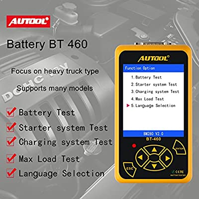 WonVon Car Battery Tester Automotive Battery Analyzer,BT460 Car Tester Analyzer Diagnostic Tool for 12V 24V Vehicle Cranking & Charging Test and Battary Load Test