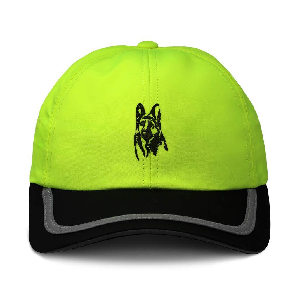Custom Reflective Running Hat Black German Shepherd DogFace Embroidery One Size