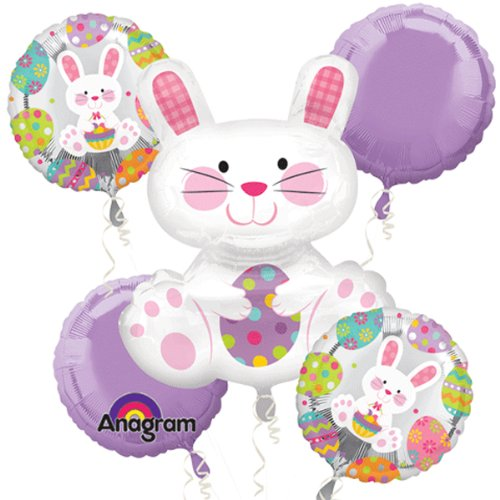 Anagram Easter Bunny Mylar Bouquet Decorations 5pc Balloon