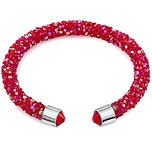 (Silver and Post Women's Red Cuff Bracelet Design with Crystals from Swarovski Bamboo Gift Box Included)