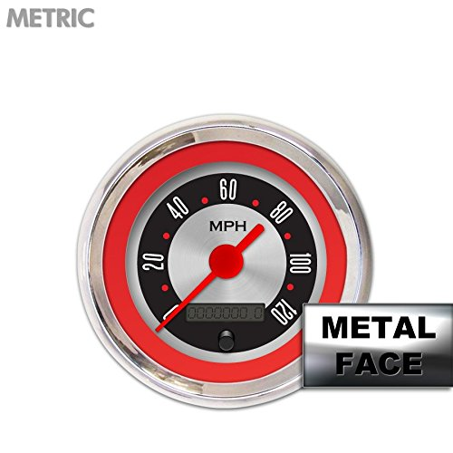 GAR25ZMXHABAE American Retro Rodder Red Speedometer Gauge Aurora Instruments