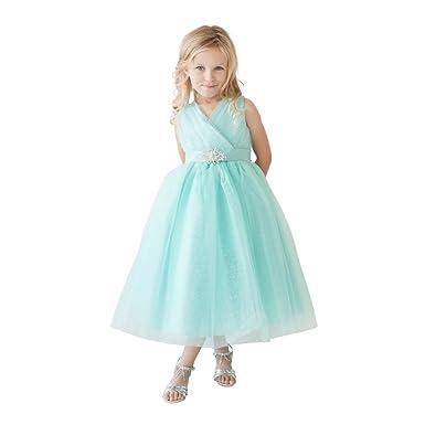06f877e6 Little Girls Aqua Glitter Tulle V-Neck Rhinestone Brooch Flower Girl Dress 2