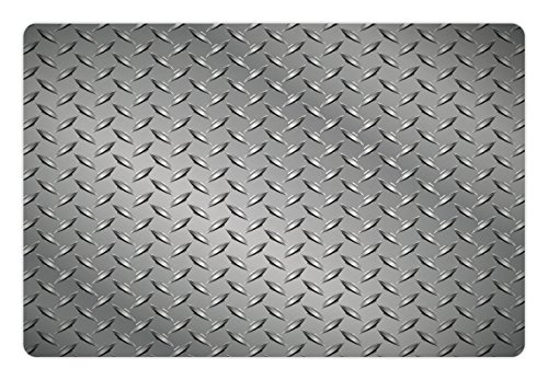 Ambesonne Grey Pet Mat for Food and Water, Wire Fence Design Netting Display with Diamond Plate Effects Chrome Kitsch Motif Print, Rectangle Non-Slip Rubber Mat for Dogs and Cats, Silver - Motif Display