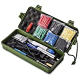 Soldering Iron Kit,Including 60W Temperature Control Soldering Iron, 130PCS Heat Shrink Tubes, Tips, Solder Sucker, Solder Wire, Tweezer (green tool case)