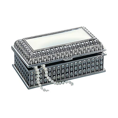 Creative Gifts Personalized Rectangular Jewelry Box with Antique Beaded Design 4 by 7 Inch