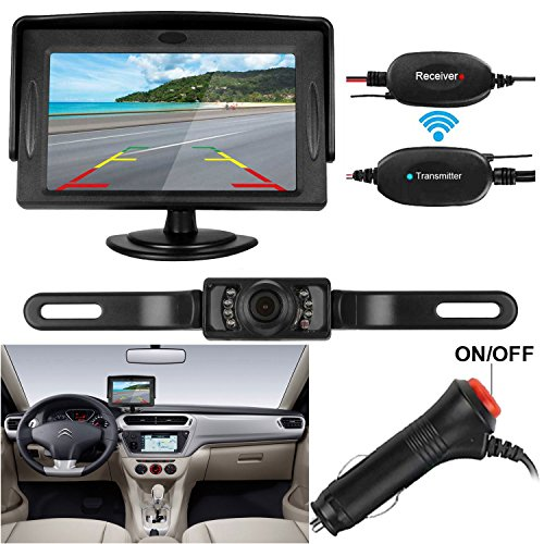 iStrong Backup Camera Wireless and Monitor Kit Waterproof License Plate Rear View Camera 9V-24V System 4.3 Display 7 LED IR Night Vision For Car /Vehicle/SUV/Van/Campe