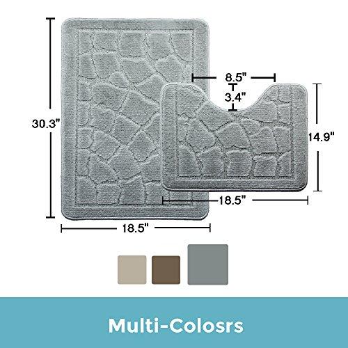 Bath Mat Set 2 Piece Polypropylene Nonslip Bathroom Carpet Toilet Bath Carpet Set (Gray, 14.9''X18.5'',18.5''X30.3'') by DADA